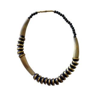 Vintage Brass and Black Horn Necklace