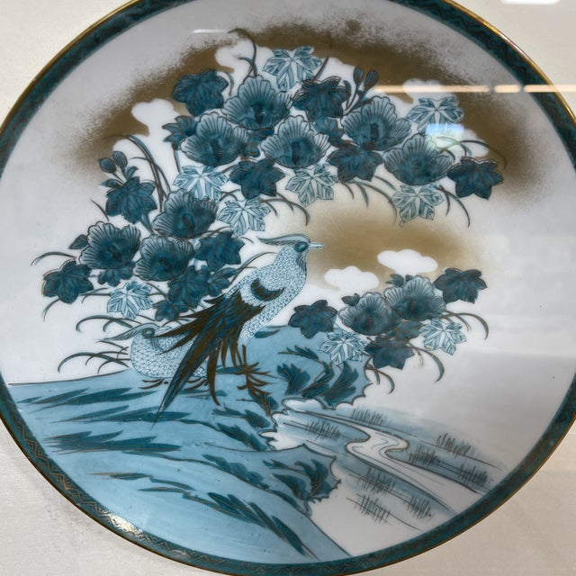 Metal Framed Imari Japanese Bird Plates - a Pair For Sale - Image 7 of 13