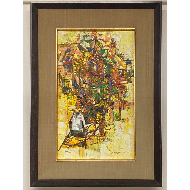 Yellow Vintage 1971 Signed Oil on Canvas Abstract Framed Art Painting Colorful For Sale - Image 8 of 8