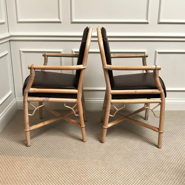 Asian 1960s Chinoiserie Rattan Dining Table & Chairs - 5 Pieces For Sale - Image 3 of 13