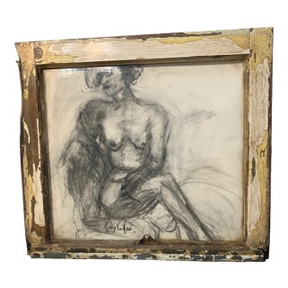 """""""Lady in Waiting"""" Contemporary Figurative Charcoal Drawing, Framed For Sale"""