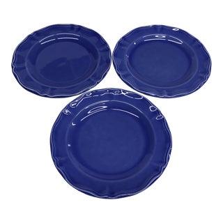 Vintage French Varages Blue Salad Plates - Set of 3 For Sale