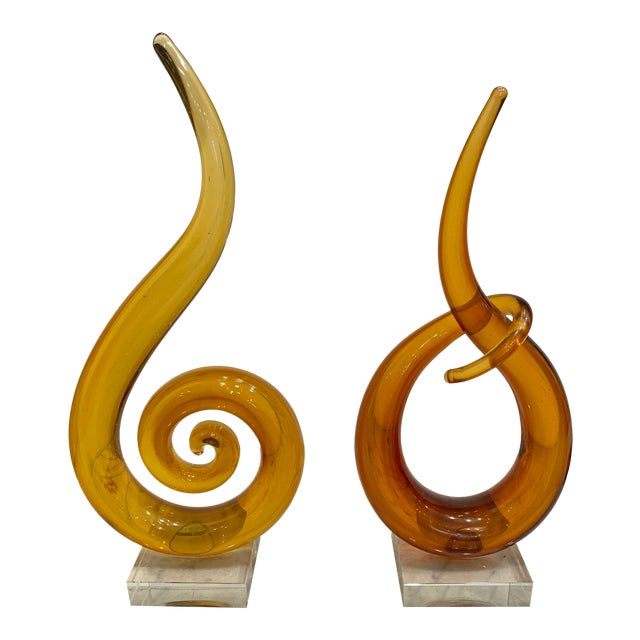 Venetian Murano Glass Sculptures - a Pair For Sale