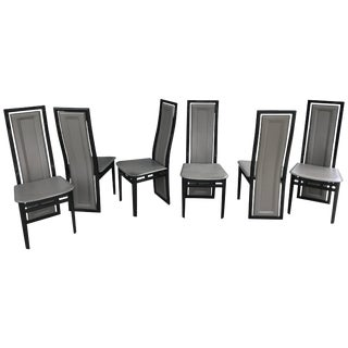 Italian Modern Black Lacquer and Grey Leather Dining Chairs - Set of 6 For Sale