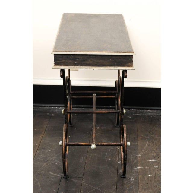 Wood Vintage French Baker's Table With Painted Wood Top and Scrolled Iron Base For Sale - Image 7 of 11