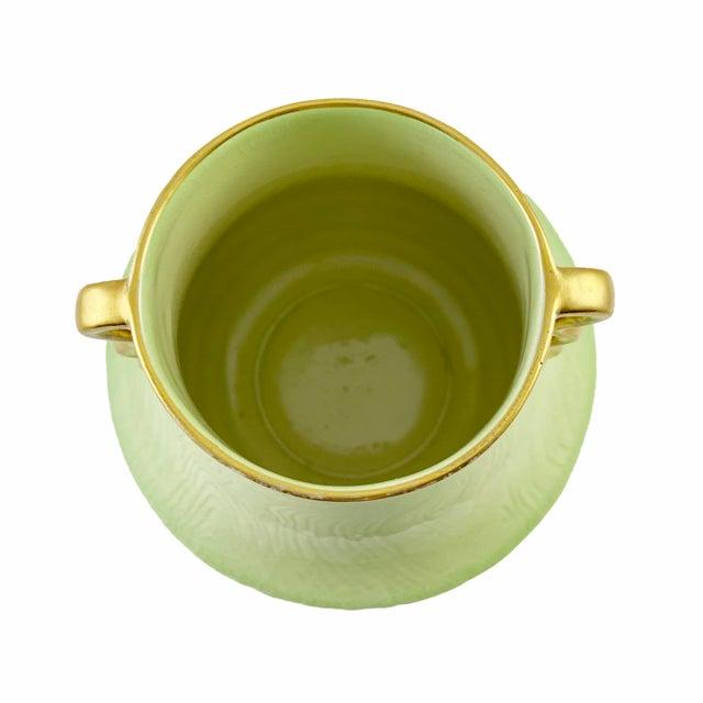 Art Deco 1925 Carlton Ware Art Deco Green Gold Handles Vase For Sale - Image 3 of 6