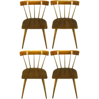 Four Paul McCobb Dark Maple Spindle-Back Dining Chairs For Sale