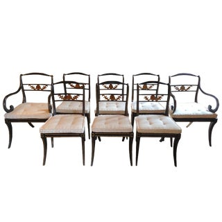 19th Century Gold Accent Black Dining Chairs - Set of 8