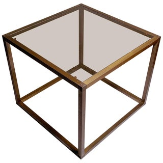Italian 1960s-1970s Bronzed Extrusion Cube Table For Sale