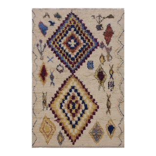 Moroccan Stafford Ivory/Blue Wool Rug- 5′1″ × 7′1″ For Sale