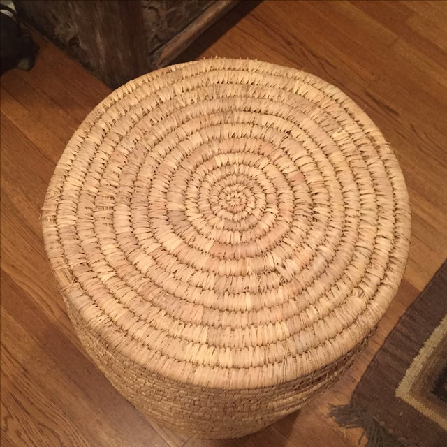 Large French Woven Basket With Leather Rim - Image 7 of 9