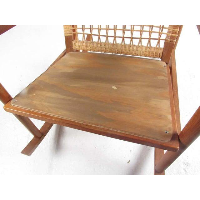 Wood Vintage Hans Olsen Teak Rocking Chair With Cane Back For Sale - Image 7 of 13