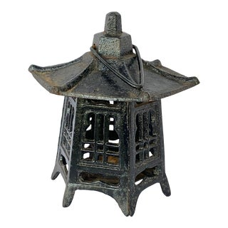 Vintage Cast Iron Pagoda Lantern For Sale