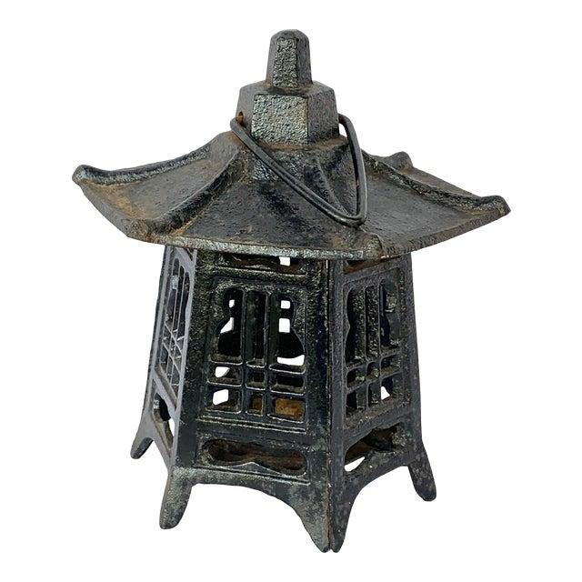 Vintage Cast Iron Pagoda Lantern For Sale