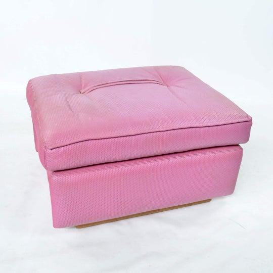 Fratelli Saporiti Hot Pink Leather Ottoman - Image 3 of 6