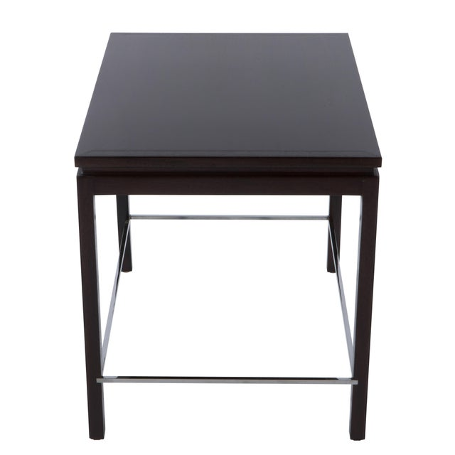 Chrome 1960's Vintage Edward Wormley for Dunbar Walnut Side Table For Sale - Image 7 of 9