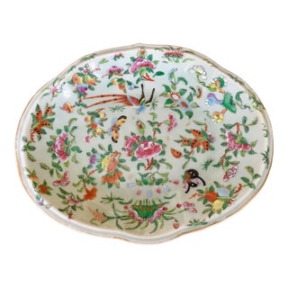19th Century Chinese Multicolor Rose Canton Celadon Oval Dish For Sale