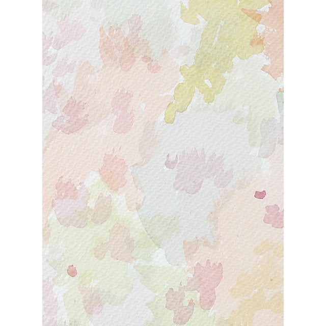Colorful Minimalist Abstract Watercolor Painting in Pink, Green, Blue, 1963 For Sale - Image 4 of 6