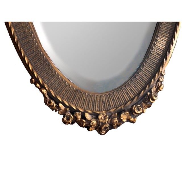 19th C. Renaissance Revival Gesso & Carved Giltwood Oval Beveled Wall Mirrors - a Pair For Sale - Image 4 of 13