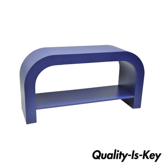 Mid Century Post Modern Blue Laminate Curved Waterfall Console - Image 11 of 11