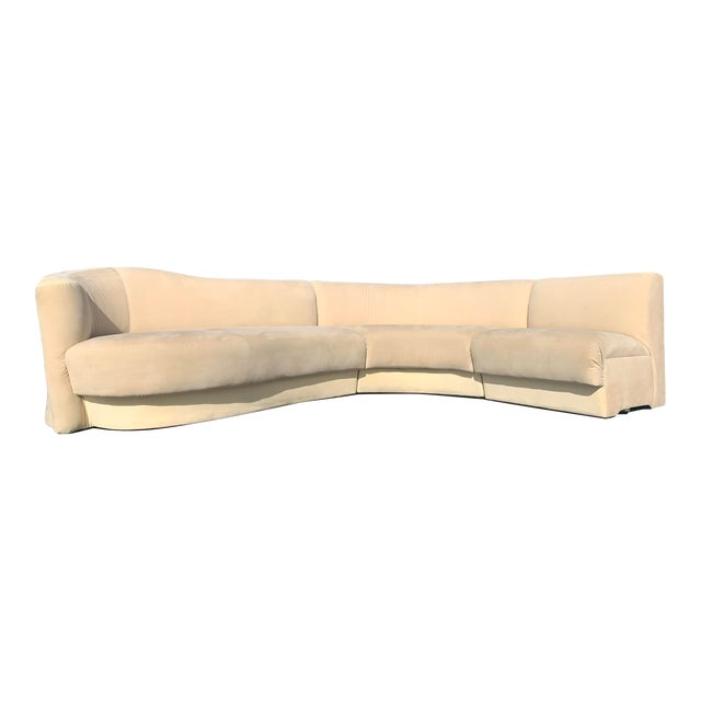 Vladimir Kagan for Weiman 3pc Scroll Back Sectional Sofa For Sale