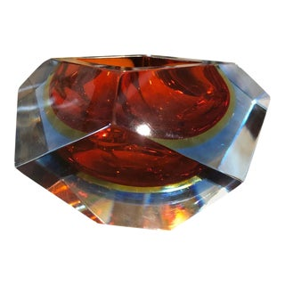 1960s Seguso Sommerso Faceted Murano Glass Ashtray For Sale