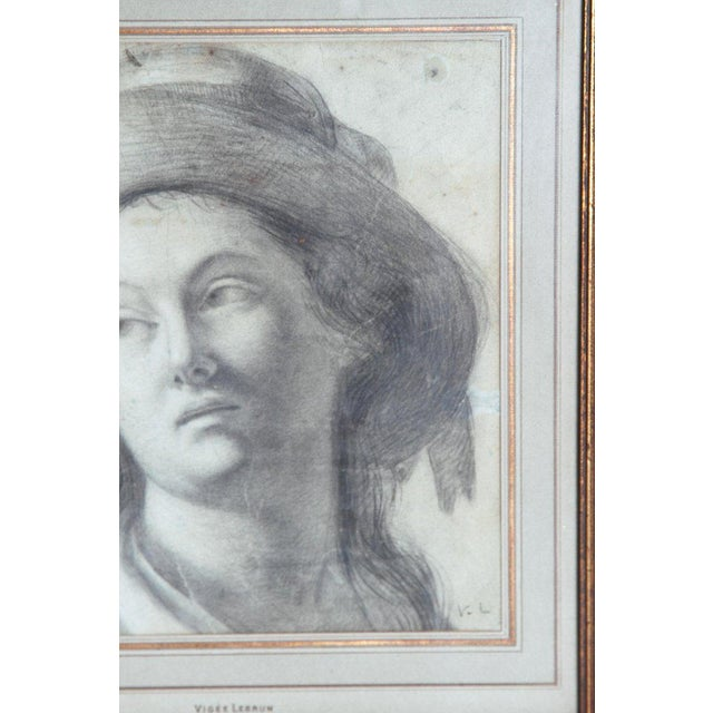 A charcoal drawing on laid paper of a lady wearing a hat. Attributed to Elizabeth Vigee Le Brun (1755-1842, French) also...