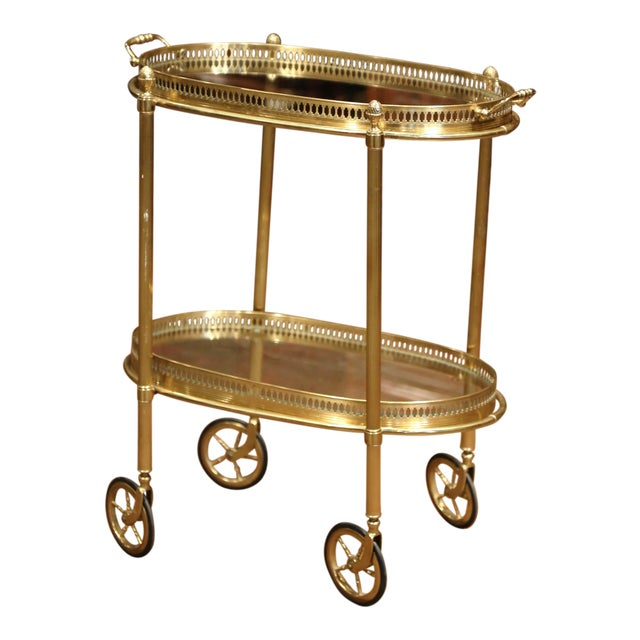 Early 20th Century, French Oval Brass Dessert Table or Bar Cart on Wheels For Sale