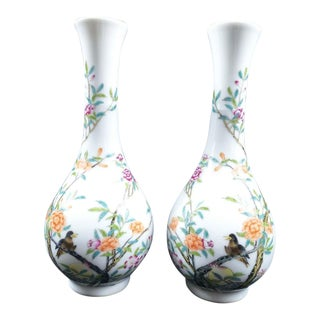 19th Century Antique Chinese Qing Dynasty Qianlong Marked Famille Rose Porcelain Vases - a Pair For Sale