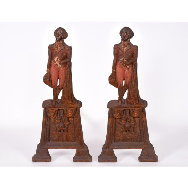 Red Pair of Mid-20th Century George Washington Andirons For Sale - Image 8 of 8
