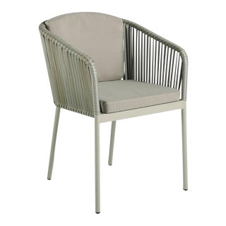 Modern Tan Rattan Armchair For Sale