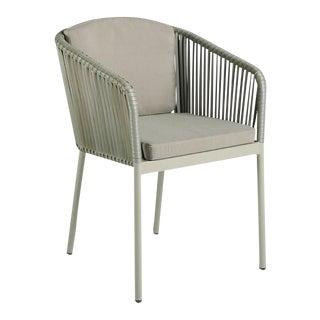 Modern Tan Rattan Armchair For Sale