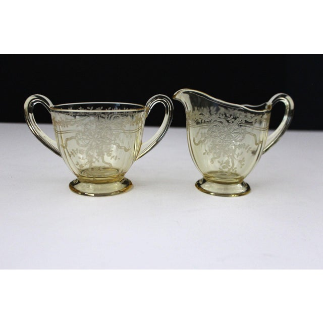 Traditional 1930s June Topaz Yellow Creamer and Sugar Bowl by Fostoria - A Pair For Sale - Image 3 of 3
