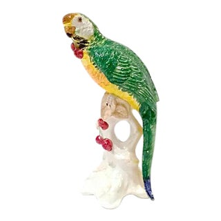 Vintage Italian Ceramic Parrot Figurine For Sale