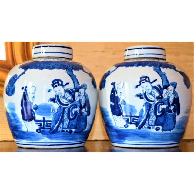 Chinoiserie Ginger Jars With Deities - A Pair For Sale - Image 10 of 10
