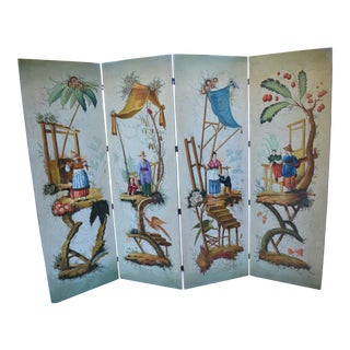 Maitland Smith Chinese Hand Painted 4 Panel Painting on Canvas Screen For Sale