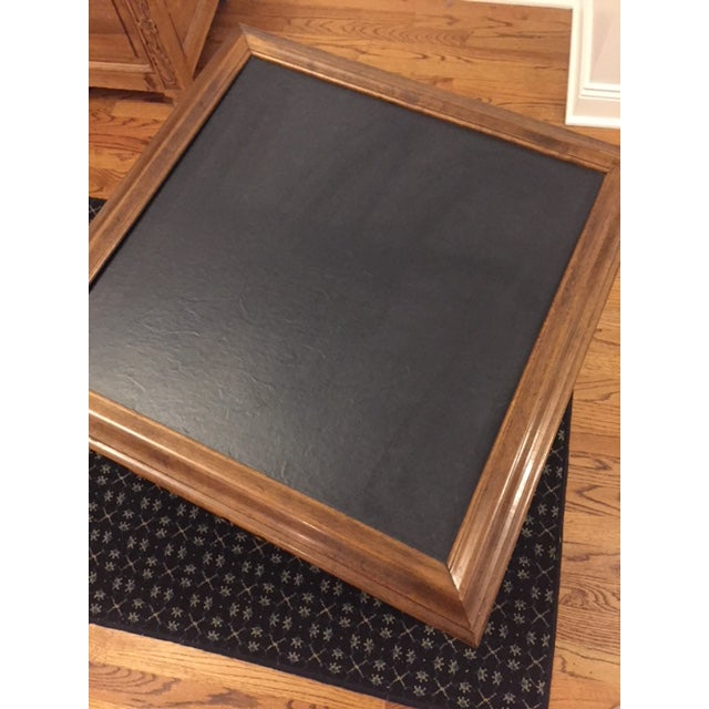 Wood Ethan Allen Mid-Century Traditional Slate Top Pecan End Table For Sale - Image 7 of 9