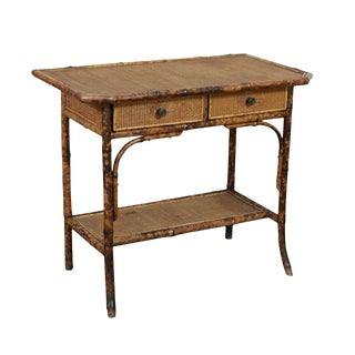 Victorian Tiger Bamboo Table/Desk For Sale