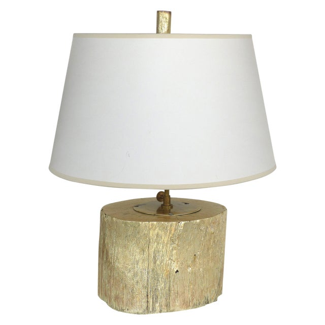 Silver Leaf and Giltwood Table Lamp For Sale