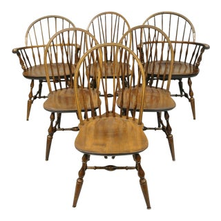 1980s Vintage Maple Nichols & Stone American Colonial Windsor Spindle Dining Chairs- Set of 6 For Sale