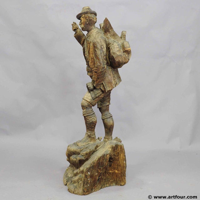 A Large Unfinished Black Forest Poacher With Ibex Carving For Sale - Image 11 of 12