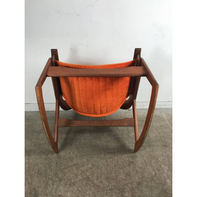 Orange Rare Jerry Johnson Midcentury Walnut Sling Rocking Chair 1960s For Sale - Image 8 of 9