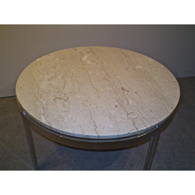 Chrome Base Stone Top Coffee/Side Table - Image 4 of 5