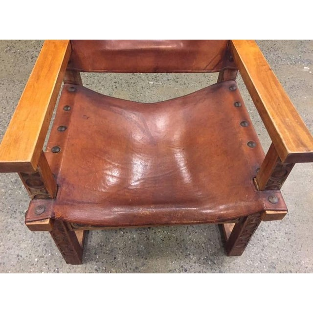Early 20th Century Vintage Spanish Baroque Leather Armchair For Sale - Image 5 of 9