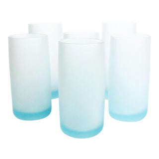 Vintage Satin Glass Tumblers in Pale Blue - Set of 6