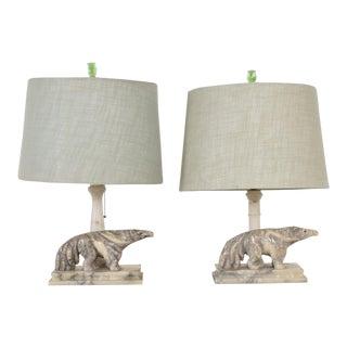 Art Nouveau Deco Period Pair of Italian Alabaster Table Lamps, Anteater Sculptures For Sale