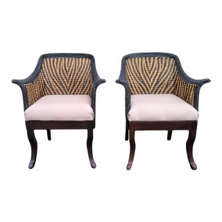 Palecek Arm Chairs With Woven Tiger-Stripe Motif - a Pair For Sale