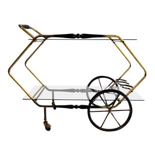 Mid Century Modern Brass and Glass Serving Trolley Cesare Lacca For Sale