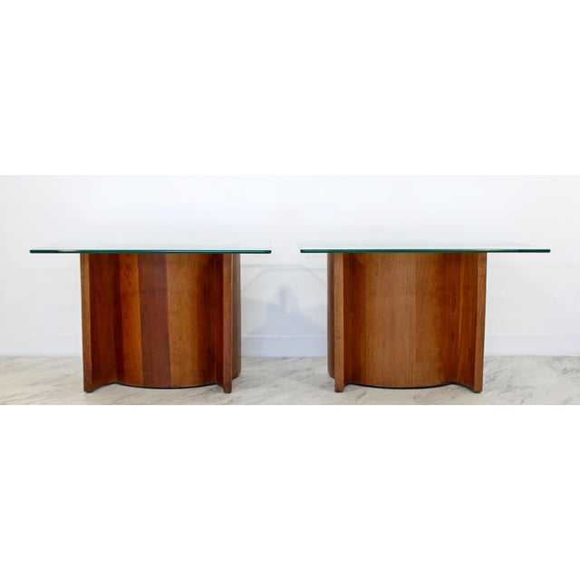 Vladimir Kagan Mid Century Modern Sculptural Wood Glass End Tables - a Pair For Sale - Image 4 of 11