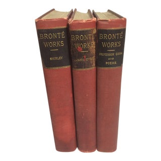 1900s Bronte Works Shirley Jane Eyre Professer Emma and Poems Books - Set of 3 Red Books For Sale